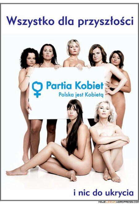 Partia Kobiet - feministki nago - plakat